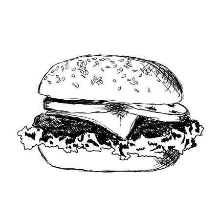 hamburger met vlees, sla, kaas en tomaat