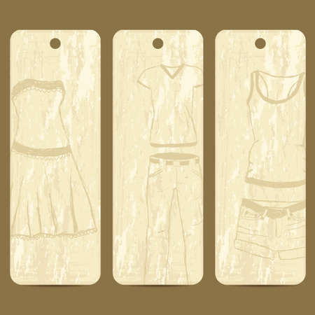 clothing label: grunge cards with clothes theme