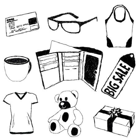 big break: doodle pictures with shopping theme Illustration