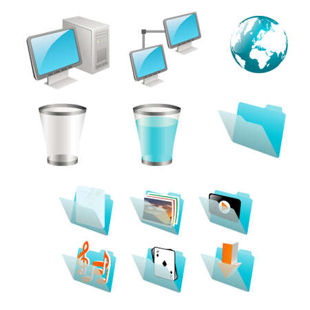 workstation: computer icons set