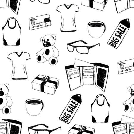 doodle seamless pattern with shopping theme Vector