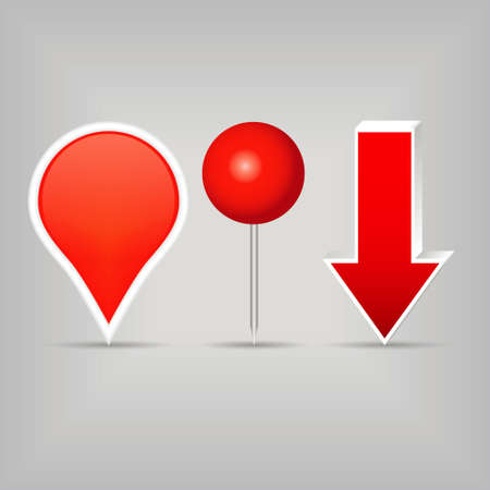 three red sign arrows Vector
