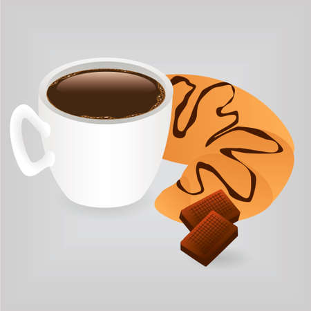 breakfast - coffe, croissant and two pieces of chocolate Vector