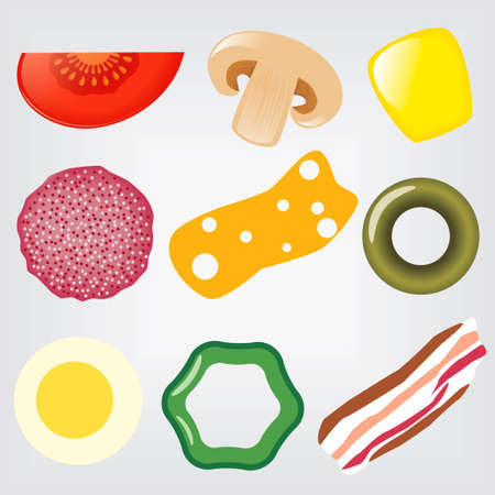 eggs and bacon: collection of pizza ingredients Illustration