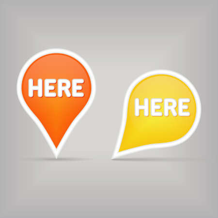 click here icon: two map signs Illustration