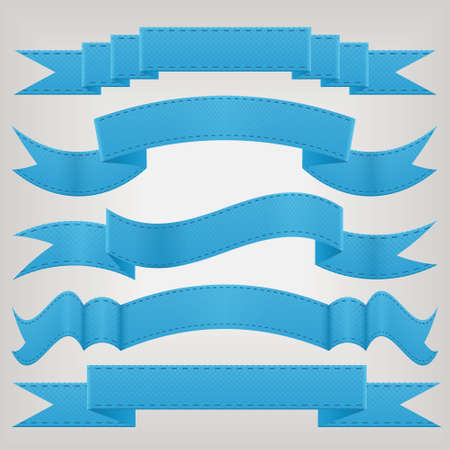 set of blue ribbons Vector