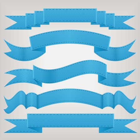 blue ribbon: set of blue ribbons