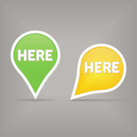 click here: two map signs Illustration