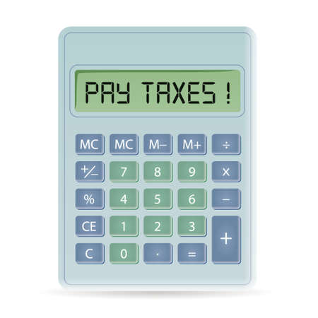 calculator with pay taxes title Vector