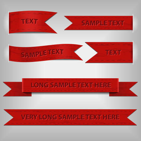 set of red ribbons with sample text Vector