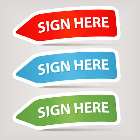 sign here: sign here stickers Illustration