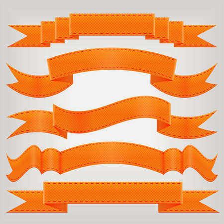 orange sign: set of orange ribbons Illustration