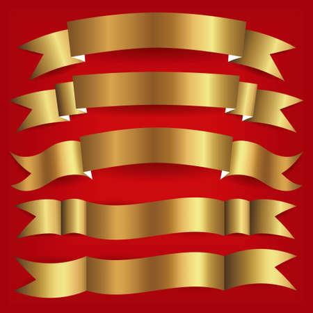 set of gold ribbons Vector