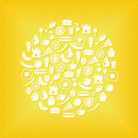 yellow apple: food icons in circle, yellow background Illustration