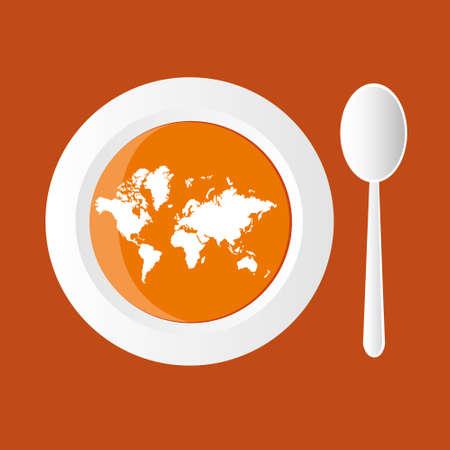 hot plate: Sopa de calabaza con mapa del mundo Vectores