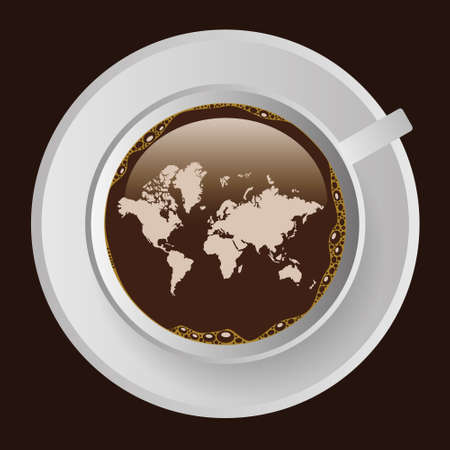 top of the world: cup of coffe with map
