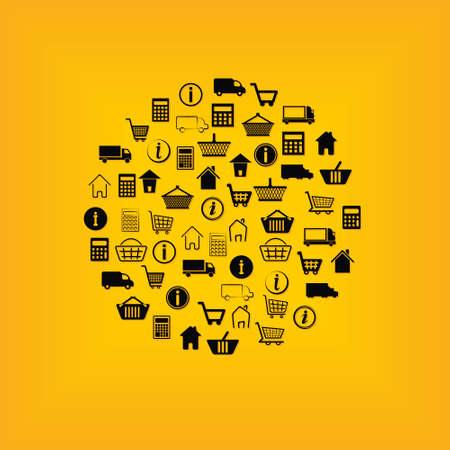 e-shop icons in circle Vector
