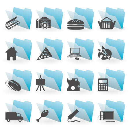 blue folders with icons Stock Vector - 13678269