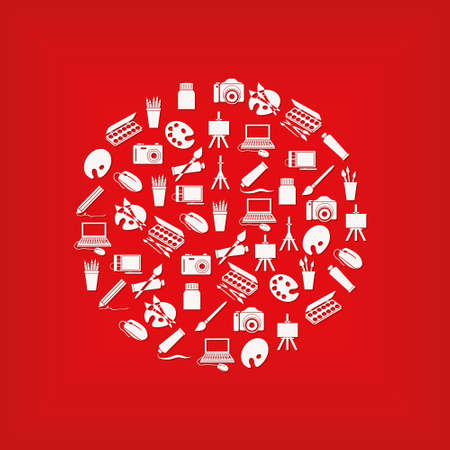 art icons in circle - white color, red background Stock Vector - 13811476