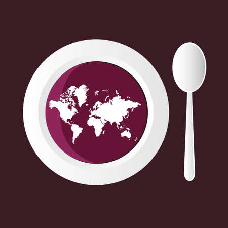 soup spoon: bietensoep met kaart van de wereld