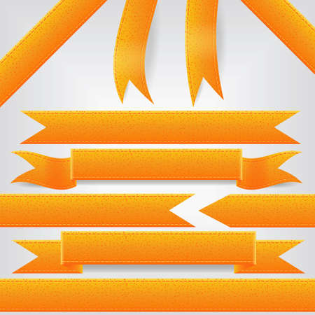 set of orange ribbons Vector