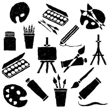 art palette: doodle art collection Illustration