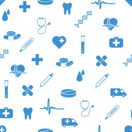 medical exam: medical icons seamless pattern Illustration