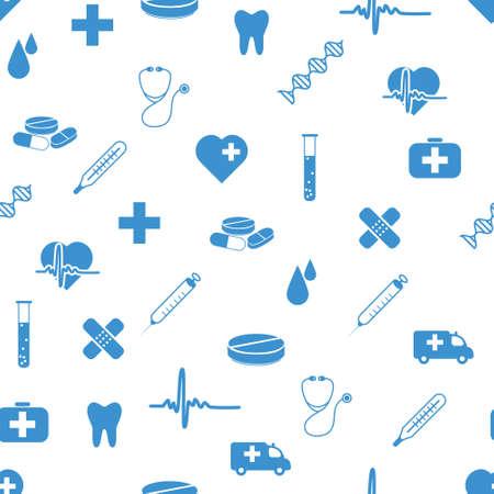 medische kunst: medische pictogrammen naadloze patroon