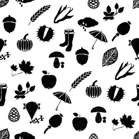 corn poppy: doodle autumn seamless pattern Illustration