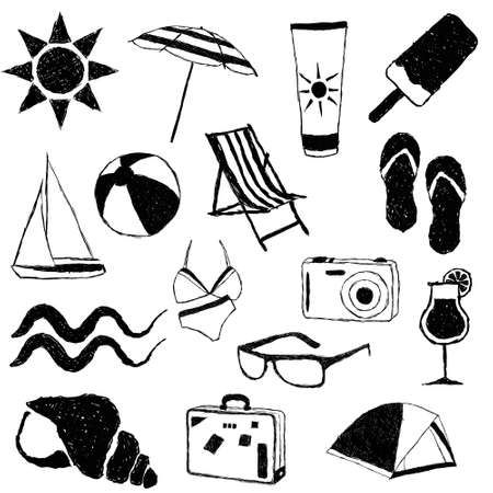 suit case: summer doodle collection Illustration