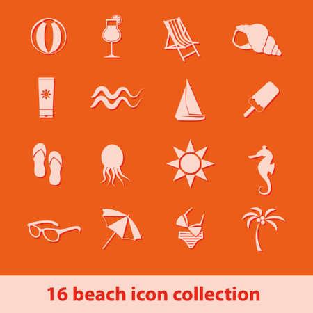 caballo bebe: Conjunto de 16 Playa colección de iconos