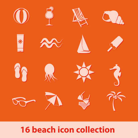 set of 16 beach icon collection Vector
