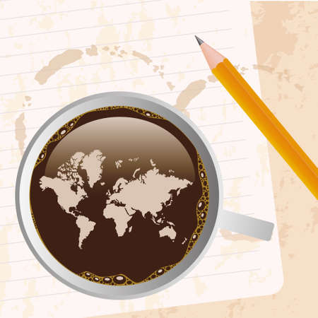 cup of coffe with map Vector