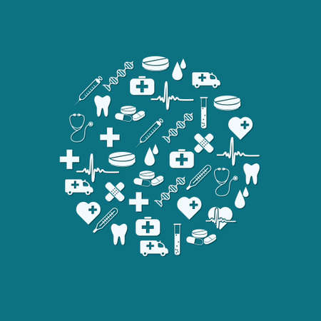 medical icons icons in circle Stock Vector - 14408440