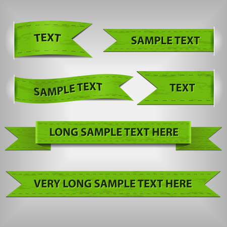 green ribbons with sample text Vector
