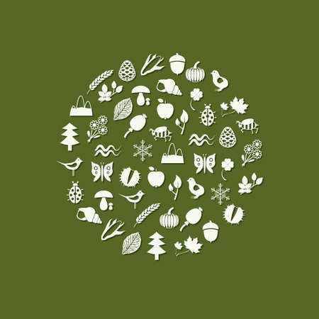 nature icons in circle