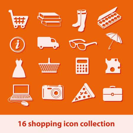 16 shopping icons collection Vector
