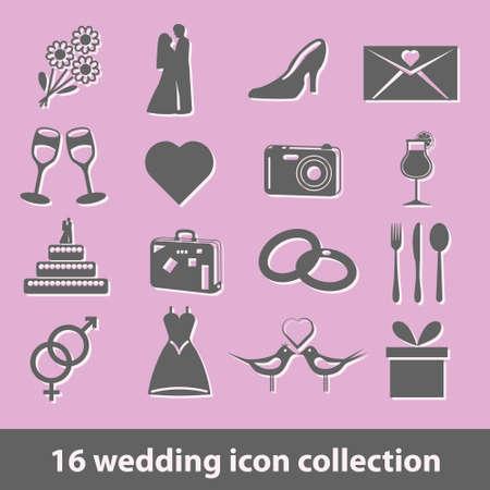 16 wedding icon collection Vector
