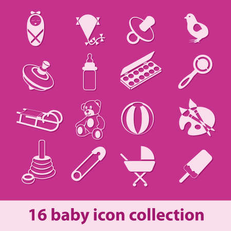 16 baby icon collection Stock Vector - 14631047