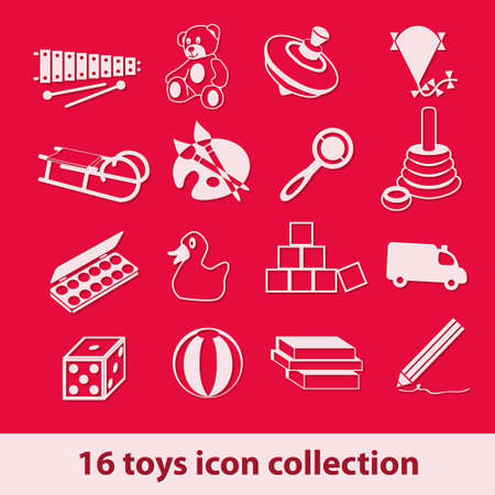 16 toys icon collection Stock Vector - 14631048