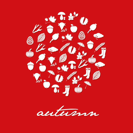 autumn icons in circle Stock Vector - 14759972
