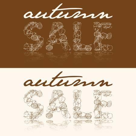 autumn sale with autumn doodle images Vector