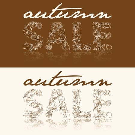 autumn sale with autumn doodle images Vector