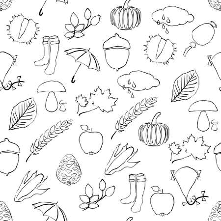 cloud ear fungus: doodle seamless pattern with autumn pictures