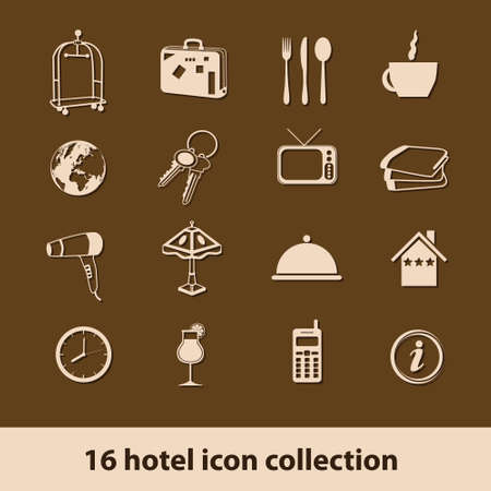 16 hotel icons collection Vector