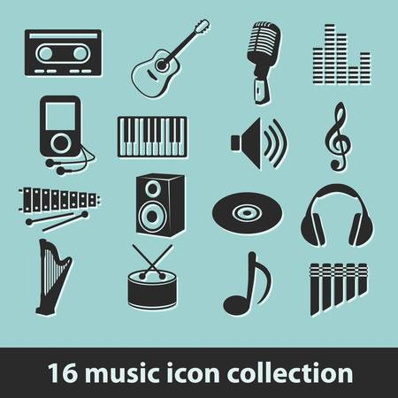 16 music icon collection Vector