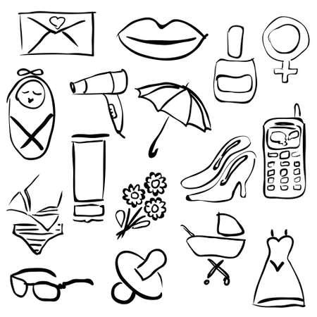doodle women images Vector