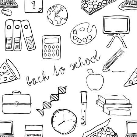 doodle school seamless pattern Vector