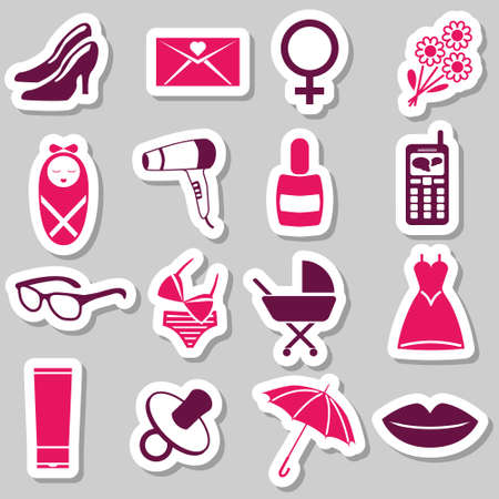 women stickers Vector