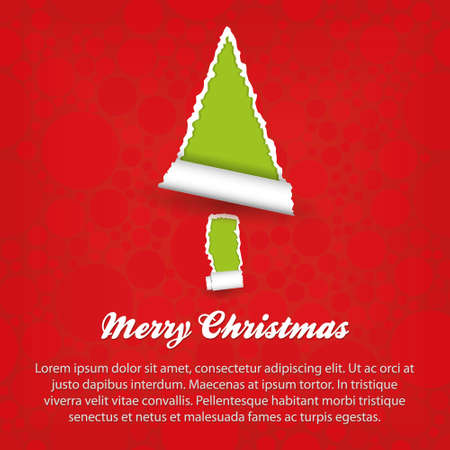 merry christmas - green and red paper Stock Vector - 14983972
